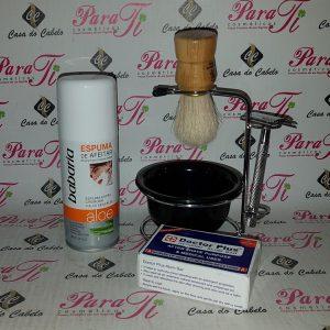 Kit Barba 7 Casa do Cabelo (Suporte Aço+Espuma 100ml+Pedra Humus+Pincel+Maquina)