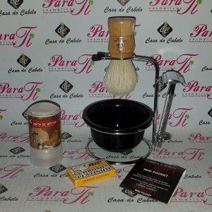 Kit Barba 9 Casa do Cabelo (Suporte Aço+Sabão 42gr+Hemostaticos+Pincel+Maquina+5Laminas)
