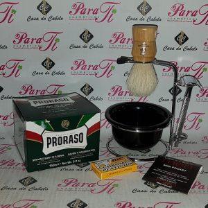 Kit Barba 10 Casa do Cabelo (Suporte Aço+Sabão 150+Hemostaticos+Pincel+Maquina+5Laminas)