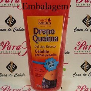 Dreno Queima Gel Lipo Redutor Celulite/Pernas Cansadas 200ml Real Natura (Efeito Frio)